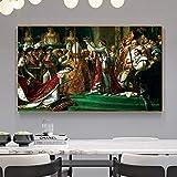 WIOIW Francés Jacques-Louis David Napoleón Bonaparte Catedral de Notre Dame París Lienzo Coronado Pintura Arte de la Pared Póster Impresiones HD Dormitorio Sala de Estar Decoración para el hogar