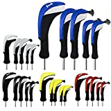 FINGER TEN Golf Club Head Covers Woods Driver Fairway Hybrid 3 Set, Headcovers Men Women 1 3 5 7 X with Interchangeable Number Tag, Fit All Wood Clubs (Black--1 Driver&1 Fairway&1 Hybrid)