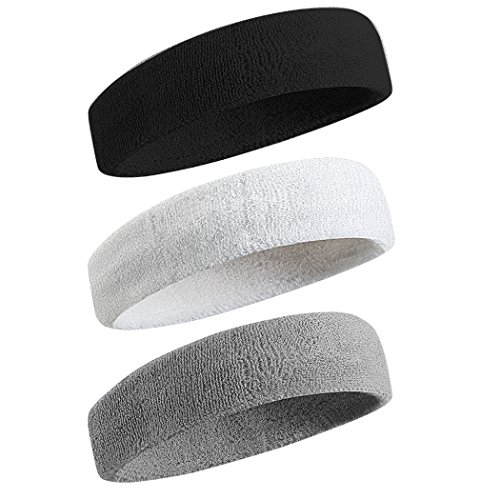 Beace Sweatband Sports Headband for Men and Women, Moisture Wicking Athletic Cotton Terry Cloth Sweatband for Tennis, Running, Gym, Working Out, 3pcs, Black Gray White
