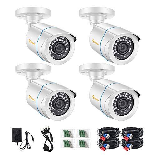 Anlapus 4pcs 1080P Kit de cámaras de vigilancia con cámara DVR analógica, visión nocturna de 20M, color blanco