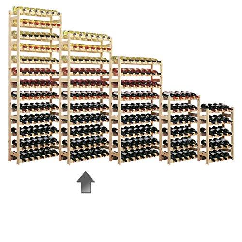 Cantinetta / scaffale per vino SIMPLEX modello 4, per 77 bottiglie, legno naturale - A 166 x L 72 x P 25 cm