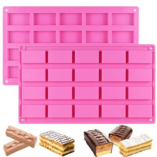 SAKOLLA 2 Pack 40 rechteckige Schokoladenriegel Silikon Formen ideal für die Herstellung von Süßigkeitenriegeln, Karamellen, Granola-Bars, Eiswürfeln, Dessert, Seife, Energieriegel und Praline