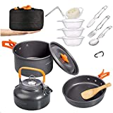 Overmont 1.95 Liter (Pot+ Kettle) Camping Cookware Set Campfire Kettle Outdoor Cooking Mess Kit Pots Pan for Backpacking Hiking Picnic Fishing Free Folding Spork Knife Spoon