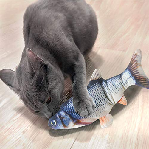Senneny 2 Pack Electric Moving Fish Cat Toy, Realistic Plush Simulation Electric Wagging Fish Cat Toy Catnip Kicker Toys, Funny Interactive Pets Pillow Chew Bite Kick Supplies for Cat Kitten Kitty