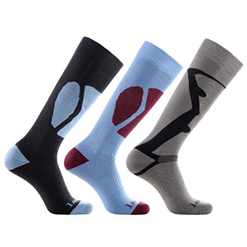 Laulax, 3 paia di calze termiche lunghe da sci, da uomo,cashmere-like, taglia 4146, colore: nero,...