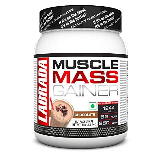 Labrada Muscle Mass Gainer (Gain Weight, Post-Workout, 52g Protein, 250g Carbs,1g Creatine, 500mg...