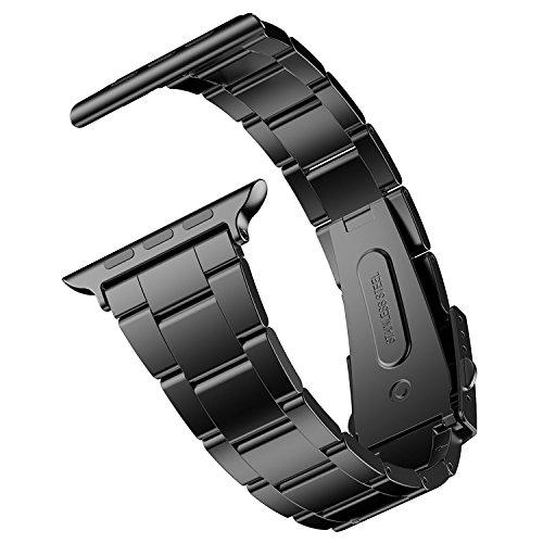 JEDirect Apple Watch 用バンド 42mm と 44mm Series 1 2 3 4 5対応 ステンレス留め金製 ブラック