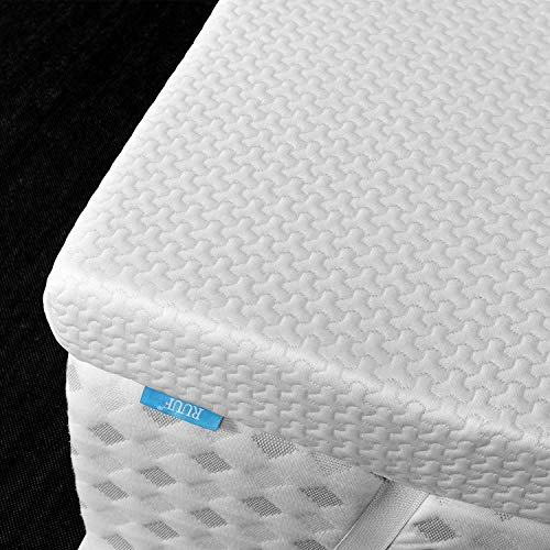 RUUF 3-Inch Firm Mattress Topper Full, High Density Memory Foam Bed Topper with Removable Hypoallergenic Cooling Cover