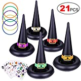 Konsait Halloween Party Games Witch Hat Ring Toss Temporary Tattoos for Kids Children, Halloween Indoor Outdoor Games Inflatable Garden Toys Kids Halloween Party Favor Supplies Gift
