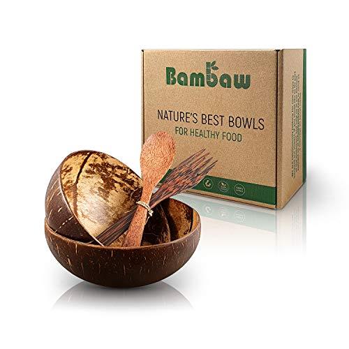Kokosnuss Schale Set aus 2 Schalen mit Holzbesteck | Vegane Schüssel | Für Buddha Bowl und Acai...