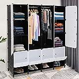 VINGLI Portable Closet Shelves, 16 Cube Clothes Organizer, Plastic Playroom Storage, Storage Closet,...