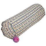 Bolster de yoga acolchado cilíndrico de color irisado, hecho de algodón, relleno de cáscara de trigo sarraceno