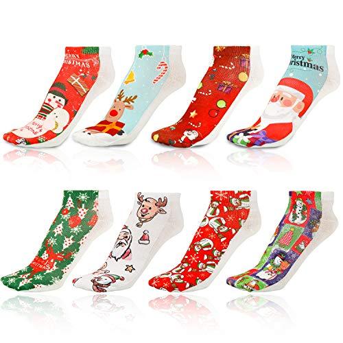 Qpout 8 Coppie Divertente Natale Casual alla Caviglia Calzini Unisex Inverno Cotone Caldo Calzini Termici Cotone Natale Vacanze di Natale Calzini di Divertimento Low Cut Fun Socks