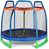 Giantex 7 Ft Kids Trampoline w/Safety Enclosure Net, Spring Pad, Zipper, Heavy Duty Steel Frame, Mini Trampoline for Indoor/Outdoor, Supports up to 220 Pounds, Great Gifts for Kids (Blue)