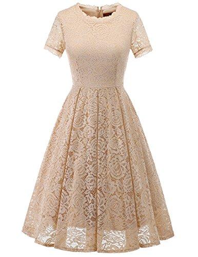 DRESSTELLS Damen Midi Elegant Hochzeit Spitzenkleid Kurzarm Rockabilly Kleid Cocktail Abendkleider Champagne S