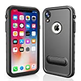 RedPepper Waterproof Case for iPhone XR 6.1, Full-Body Protective iPhone XR Case Shockproof Dirtproof Snowproof IP68 Certified, Built-in Screen Protector Waterproof Case with Kickstand (Black/Stand)