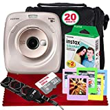 Fujifilm Instax Square SQ20 Hybrid Instant Camera (Beige) - Basic Accessory Bundle with 20 Sheets of Instant Film + 16GB Micro sd Card + Case + Xpix Camera Strap and More. (USA Warrantty)