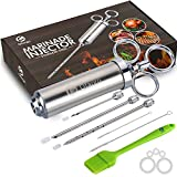 Ofargo Stainless Steel Meat Injector Syringe with 3 Marinade Injector Needles for BBQ Grill Smoker, 2-oz Large Capacity, Including Paper User Manual, Recipe E-Book (Download PDF)