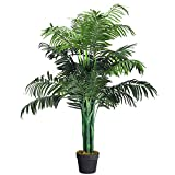 Goplus Artificial Palm Tree, Fake Tropical Plant with Plastic Pot,...