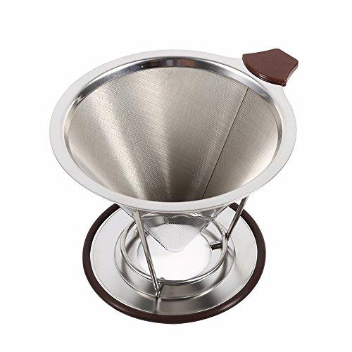 Reutilizable soporte de filtro de café de acero inoxidable para bebidas y cafeterías, embudo de malla de metal, para café, té, filtro, herramientas