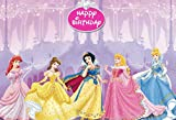 7x5ft Cartoon Princess Birthday Party Supplies Photography Backdrop Castle Girl Birthday Background Step and Repeat Dessert Table Banner Photo Studio Props 231