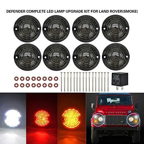 Kit di luci a LED per auto, misura standard, indicatori di colore ambrato, fanale posteriore di arresto, con lampeggianti, 8 pezzi in totale, 73 mm, lenti color fumo