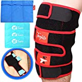 TOUGHITO Hot & Cold Knee Ice Pack Wrap – Compression Knee Wraps for Pain, Swelling, and Recovery with 3 Reusable Hot/Cold Gel Packs + BONUS Ice Pack Sleeve, Comfy Ice Pack for Knee with Wrap Support