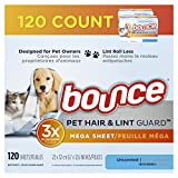 Bounce Pet Hair and Lint Guard Mega Dryer Sheets with 3X Pet Hair Fighters, Unscented, 120 Count