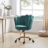 BELLEZE Kaylee Office Chair Upholstered Velvet Seashell Swivel Desk Chair Task Chair Height Adjustable Golden Leg, Green