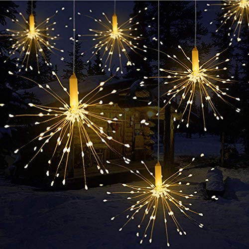 Queta, luci a LED a forma di fuochi di artificio, impermeabili, con telecomando a batteria (non inclusa), adatte anche per Natale, 180leds