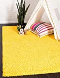 Unique Loom Solo Solid Shag Collection Modern Plush Tuscan Sun Yellow Area Rug (4' 0 x 6' 0)