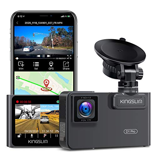 Kingslim D1 Pro 2K Dual Dash Cam with Wi-Fi GPS, 2K/1080P Front and Inside Cabin Car Camera Driving Recorder, Dual Sony Sensor with 340° FOV, Super Night Vision, Parking Monitor