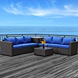 Patio PE Wicker Furniture Set 6 Piece Outdoor Brown Rattan Sectional Loveseat Couch Conversation Sofa with Storage Box and Coffee Table, Royal Blue Cushion