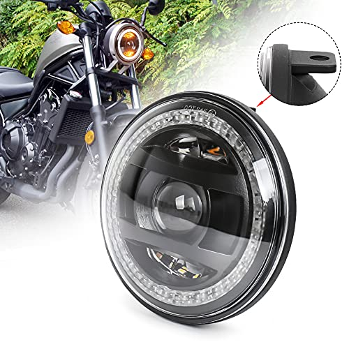 MOVOTOR レブル250 ヘッドライト バイクLED 専用設計イカリング付き Hi/Loビーム ブラック Honda Rebel 250 2017-2019年 1個