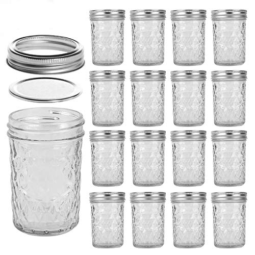 LEQEE Mason Jars 8 oz 16 PACK Mini Canning Jars with Silver Lids and Bands Regular Mouth Jelly Jar for Jam, Honey, Wedding Favors, Shower Favors, Baby Foods, DIY Magnetic Spice Jars (8oz-16Pack)