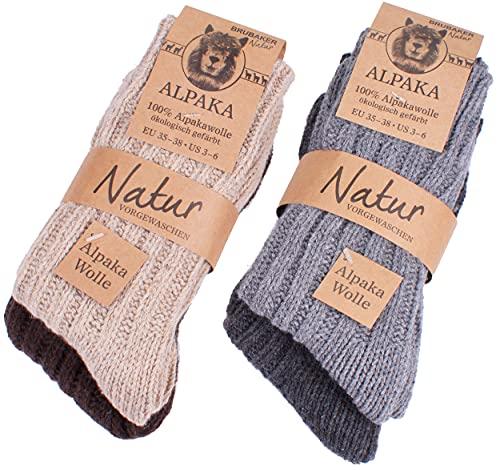 BRUBAKER 4 paia di calzini caldi e morbidi , in lana Alpaca miscelazione dei colori EU 39-42