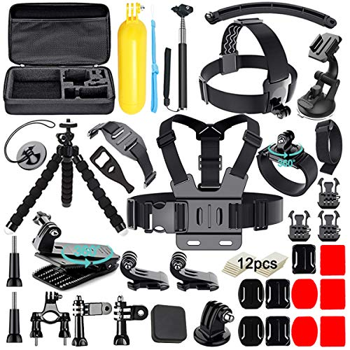 Soft digits 50 in 1 Action Camera Accessori Kit per GoPro Hero 9 Hero 2018 Hero 7 6 5 4 3 Hero 5 Black, Hero Session YI Campark Akaso Crosstour Apeman Sony con custodia per il trasporto