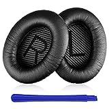 TesRank Cuscinetti auricolari di ricambio per Bose QuietComfort QC 2 15 25 35 AE2 AE2i AE2w SoundTrue SoundLink, Nero