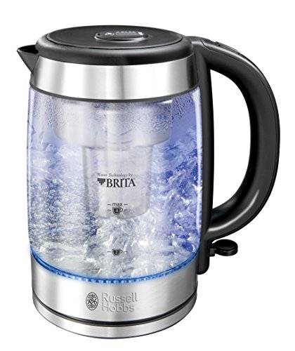 Russell Hobbs 20760-70 Clarity Glas-Wasserkocher, integrierter Brita Wasserfilter, hochwertiges Schott-Duran Glas, silber