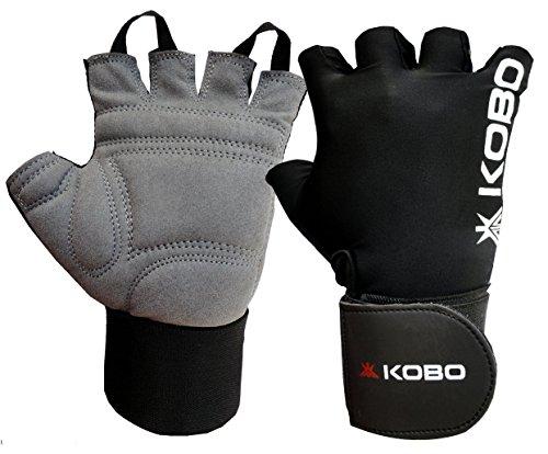 Kobo WTG-09 Gym Gloves with Wrist Support, Medium (Black)