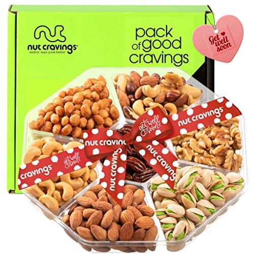 Get Well Soon Gift Basket, Nut Arrangement Platter + Red...