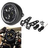 HOZAN Black 5-3/4 5.75inch LED Motorcycle Headlight with Headlight Housing for Shadow Suzuki Motorbikes Metric bikes Cruisers Choppers