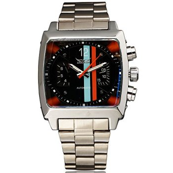 Jaragar Sport Design Clock Rectangle Design relogio Stainless Steel Strap Mens Watches Top Brand Luxury Automatic Wrist Watch