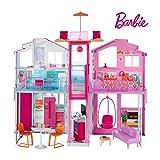 Barbie Mobilier Grande Maison de poupée de Luxe à 2 étages et 4 pièces...