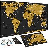 Carte du monde à gratter XXL (82 x 43 cm), Bonus Carte d'Europe,...