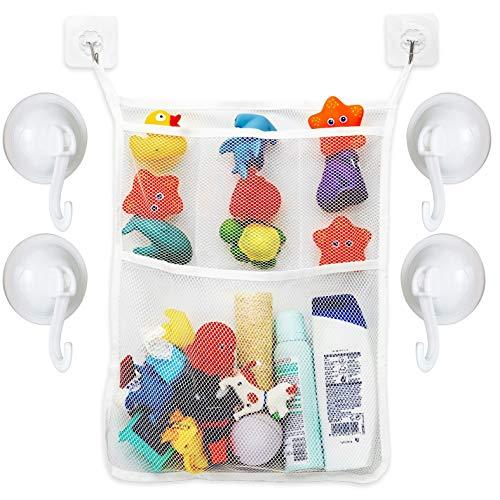 Badewannen Spielzeug Aufbewahrungsnetz, Organizer inklusive 4 x Saugnapf Haken und 2 x transparenten Klebehaken, verhindert Schimmel an Spielzeugen, Spielzeugnetz zum Hängen, waschmaschinenfest