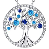 GinoMay September Birthstone Jewellery Women Birthday Gifts Blue Sapphire Tree of Life Necklace Her Blue Topaz Sterling Silver Pendant Necklace