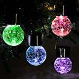 Solpex Hanging Solar Lights Outdoor,8 Pack Decorative Cracked Glass Ball Light, Solar Powered Waterproof Globe Lighting, Hanging Globe Solar Lights for Garden, Yard, Patio, Lawn, Flower Bed.