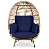 Best Choice Products Wicker Egg Chair, Oversized Indoor Outdoor Lounger for Patio, Backyard, Living Room w/ 4 Cushions, Steel Frame, 440lb Capacity - Navy