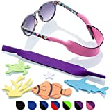 Baby Glasses and Sunglasses Strap 2pk   Active Kids with Bonus Stickers (Purple + Pink)